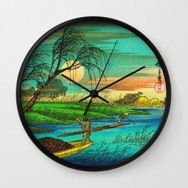 Seba Ohta River Japan Ukiyo e Art Wall Clock