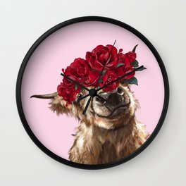 Highland Cown with Rose Crown in Pink Wall Clock