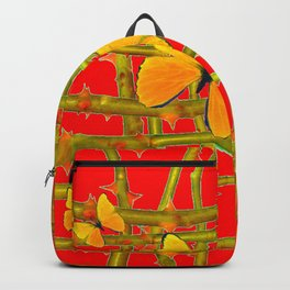 YELLOW BUTTERFLIES & RED THORN LATTICE Backpack