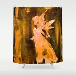 Guardian Angel - Gold Shower Curtain