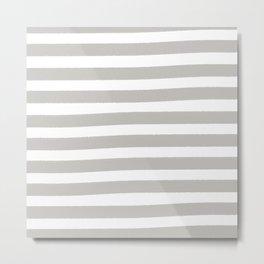 Brushy Stripes - Gray Metal Print
