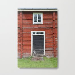 Old black cottage door Metal Print