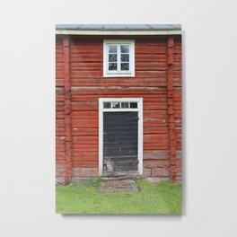 Old black cottage door Metal Print