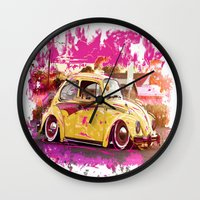 volkswagon Wall Clocks featuring yellowinpink beetle bug by Vector Art