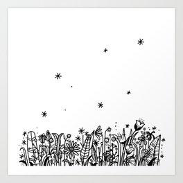Doodle Flower Garden black and white  Art Print