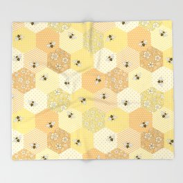 Patchwork Bees Pattern Throw Blanket