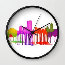 Boston Skyline - Puddles Wall Clock