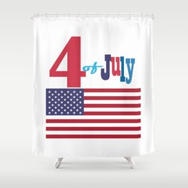4th of July Happy Independence Day Patriotic American flag & stars Shower Curtain