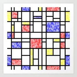 Modern Art Plasma Red Yellow Blue Grid Pattern Art Print