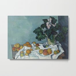 Still Life with Apples and a Pot of Primroses Metal Print