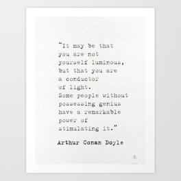 Arthur Conan Doyle quote Art Print