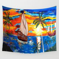 pirates Wall Tapestries featuring PIRATES by Aat Kuijpers