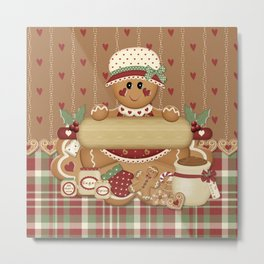 Gingerbread Country Christmas Metal Print