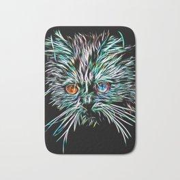 Odd-Eyed White Glowing Cat Bath Mat