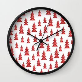 Red Grunge Christmas Tree Pattern + New Year's Resolution Grow Chart Wall Clock