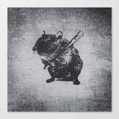 Angry street art mouse / hamster (baseball edit) Canvas Print