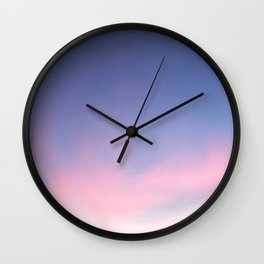 Blue evening sky with pink clouds. Photography Wall Clock