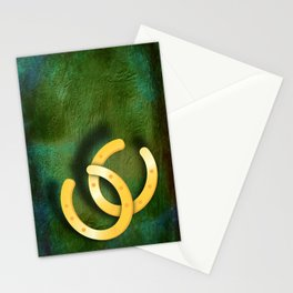 Lucky horseshoes on a textured green background Stationery Cards