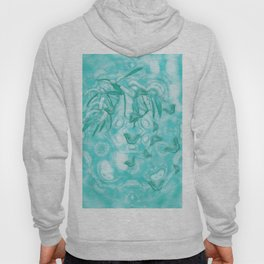 Abstract butterflies in teal landscape Hoody