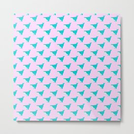 Blue and Pink Whales Metal Print
