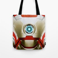 iron man Tote Bags featuring IRON MAN Iron Man by Veylow