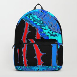 BABY BLUE MOTHS WITH  THORN CANES BLACK ABSTRACT Backpack