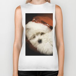 Sleepy Santa Puppy Biker Tank