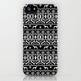 Greyhound fair isle christmas holidays pattern black and white dog gifts iPhone Case