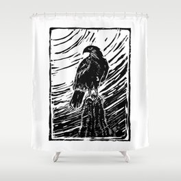 Harris Hawk Woodcut Shower Curtain