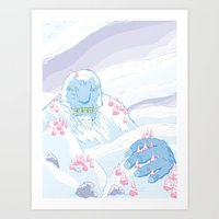 yeti Art Prints featuring Yeti by Scott Hallett