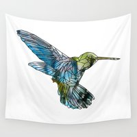 hummingbird Wall Tapestries featuring Hummingbird by madbiffymorghulis