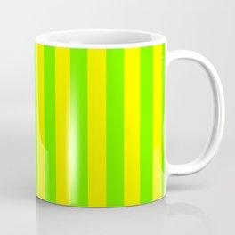 Super Bright Neon Yellow and Green Vertical Beach Hut Stripes Coffee Mug