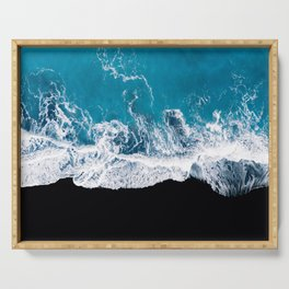 Black sand beach with waves and blue Ocean in Iceland – Minimal Photography Serving Tray