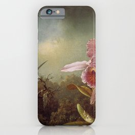 Orchid With Two Hummingbirds 1871 By Martin Johnson Heade | Reproduction iPhone Case