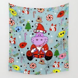 Christmas Hippo Popart by Nico Bielow Wall Tapestry