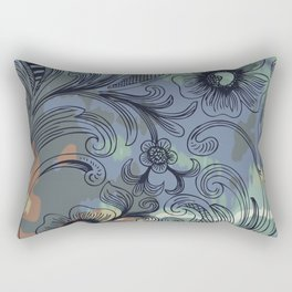 Floral Line Art with Watercolor Rectangular Pillow