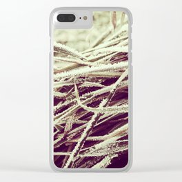 Frosty winter grass Clear iPhone Case