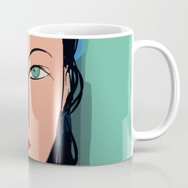Portrait expressionist of a girl with turquoise eyes Coffee Mug