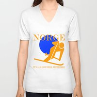 norway V-neck T-shirts featuring Norway by rita rose