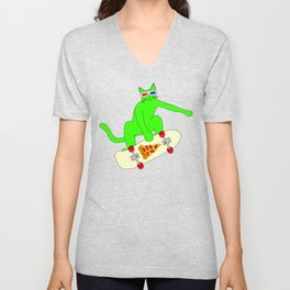 """Psychedelic Skateboarding Pizza Cat #3"", by Brock Springstead Unisex V-Neck"