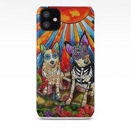 Australian Cattle Dog Sugar Skull Painting iPhone Case
