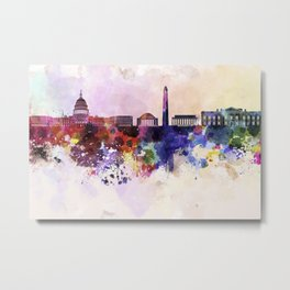 Washington DC skyline in watercolor background Metal Print