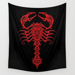 Red and Black Aggressive Tribal Scorpion Wall Tapestry