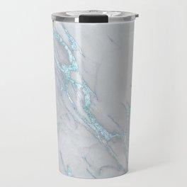 Marble Love Sea Blue Metallic Travel Mug