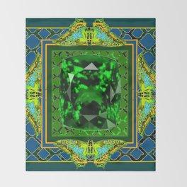 DECORATIVE  GREEN EMERALD GEM & BUTTERFLY ART DESIGN Throw Blanket