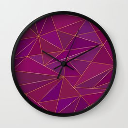 Purple golden and bronze low poly background Wall Clock
