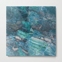 The Blues - Blue Natural Marble Pattern Metal Print