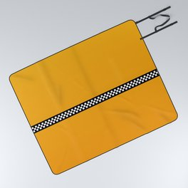 NY Taxi Cab Yellow with Black and White Check Band Picnic Blanket