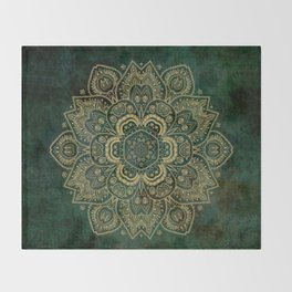 Golden Flower Mandala on Dark Green Throw Blanket