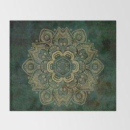 Golden Flower Mandala on Dark Green Throw Blanket